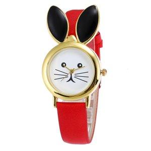 Watch Cartoon Ladies Cute Fashion Long Ears Rabbit Watch Unique Design Women Leather Quartz Watch Student Casual Gift Girl