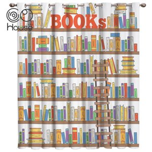 Curtain & Drapes Book On The Shelf Room Curtains Large Window Kitchen Indoor Fabric Print Decor Treatment Hardware Kids
