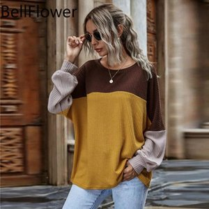 Women's T-Shirt Winter Y2k Tops Women Clothes Plus Size Hit The Color Long Sleeve Loose Round Neck Fashion Patchwork Casual Aesthetic