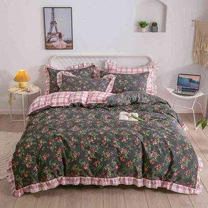 Floral Blossom Duvet Cover Full Queen Cotton Bedding Soft Breathable Blue Pink Little Flower for Girl Women Bed Sheet Pillowcase