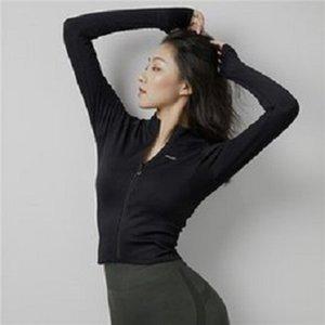 Caduta / inverno nuovo stile collare stand-up slim-fit yoga usura giacca sportiva stretch styl stretch traspirante con cerniera in esecuzione yoga maniche lunghe002