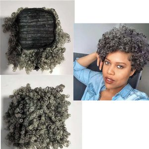 Brazilian natural grey ponytail hairpiece silver grays drawstring clip in human hair kinky curly salt and pepper highlights gray pony tail extension 120g