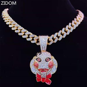 Men Women Hip Hop Movie Saw Mask Pendant Necklace With 13mm Miami Cuban Chain Iced Out Bling HipHop Necklaces Fashion Jewelry