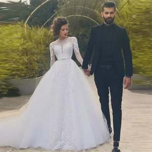 Modern Arabic Garden Wedding Dress Long Sleeve Appliques Pattern Lace Court Train Bridal Gowns 2021 Spring Summer Bride Dresses