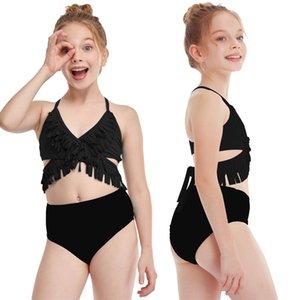 Yaz Püskül Siyah Saçaklı Çocuk Kız Bandaj Bikini Set Iki Parçalı Mayo Derin V Yüksek Bel Çapraz Bandaj Mayo