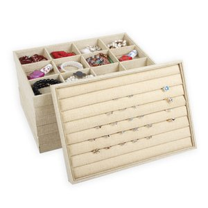 Luxury Beige Linen Jewelry Display Tray for Ring Necklace Pendant Earring Combination Showcase Storage Jewelry Organizer