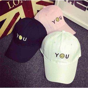 baseball female hip hop smiling face you letter solid color curved brim hat summer Korean cap fashion