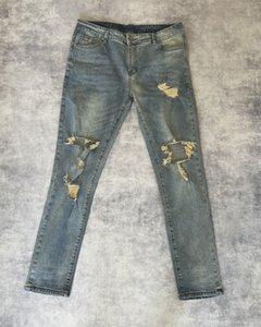 Mens Designer Jeans Destruction Slim Kanye West Denim Trousers High Street Fashion
