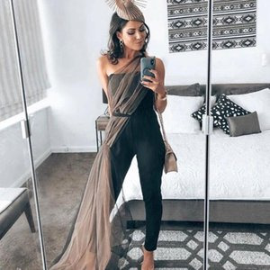 2020 Sommerfrauen Neue Sexy Bandage Black Mesh Off-the-Shoulder Jumpsuit Mode Celebrity Party Nachtclub Bodycon Overall