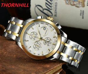 Hommes de luxe de haute qualité montres décontractés de haute qualité 40mm Multiples fonctionnelles Mensoirs Montre Mode Full Steel Inox Quartz Horloge Sports Erkek Kol Saati