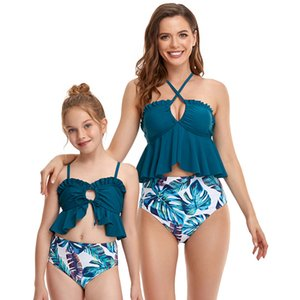 Double Pointed Llotus Leaf Parent-child Swimwear Printed High Waist Sandy Beach Bikini Ruffled Swim wear Mother And daughter Swimsuit Swimming Water Sports Spa