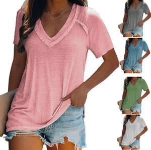 Summer style European and American loose plus size blouse v-neck short-sleeved women's T-shirt 6 colors S-5XL