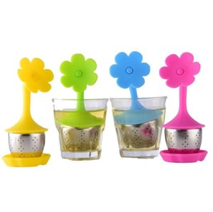 Silicone Tea Infuser Sweet Leaf Cute Mr Teapot Filter tools with Drop Tray Herbal Coffee Drinkware