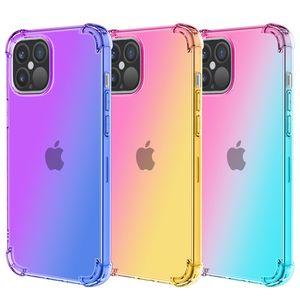 Cell Phone Cases iphone 12pro max 11 X Xr Xs 6 6S 7 8 Plus four-corner drop-proof Apple 12 gradient color