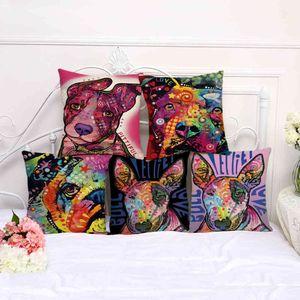 Colorful animal graffiti dog cotton hemp home decoration pillow case 100g A1020
