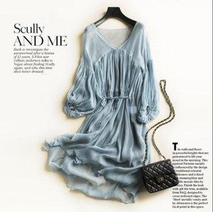 Summer Beach Dress 100% Silk Women Blue Beige White Elegant Natural Fabric High Quality Selling Casual Dresses