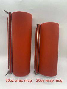 Laminating Supplies 30oz Silicone Shrink Wrap Sublimation Straight Tumbler Red Reusable Wraps 24.5*25cm Wholesale A02