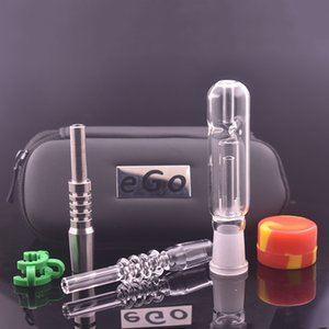 High Quality Mini glass Collector Kit with Titanium Tip Nail Quartz Tip 14mm 18mm for Glass oil rig bong pipe with ego gift box