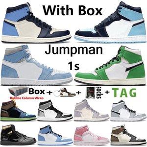 2021 con scatola Jumpman 1 1s Mens Scarpe da basket Obsidiana Uncid Iper Università Royal University Blu Lucky Green Twist Donne Sneakers Scarpe da ginnastica Taglia 36-46