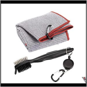 Microfiber Tri-Fold Golf Towel Brush Tool Cleaning Kit With Clip Training Aids La4Au 8Tlpe