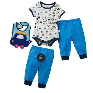 Baby Bodysuit Bibs Pants Cotton Newborn PP Pant Baby Boy Clothes bebe clothing summer jumpsuits 3-Pieces Outfits 210413