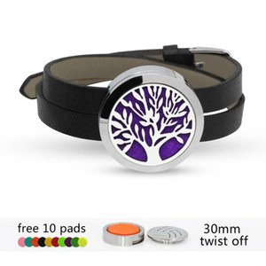 Tree Of Life Twist Screw 316L Stainless Steel Locket Wrist Bracelet (can Choose Color ) Diffuser Perfume 10 Pads Charm Bracelets