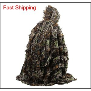 Jacket Sets Clothing Tactical Gear Outdoor 3D Leaves Camouflage Camo Cape Stealth Ghillie Suit Cs Woodland Hunting Poncho Cloak Drop D