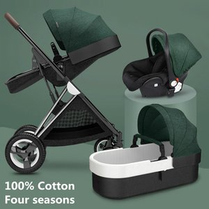 Cajón de algodón de lujo Carrera High LandView 3 en 1 cochecito de bebé Portátil Bebé Luz de cochecito con comodidad para recién nacido