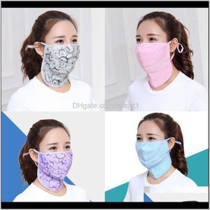 Cycling Caps Masks Outdoor Ice Silk Sunscreen Turban Motorcycle Bike Riding Dots Facemask Hanging Ear Scarf Bandana Neck Scarves1 Is8L Lthrl