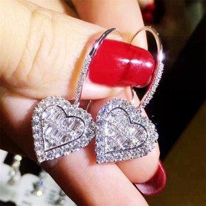 Sweet Cute Heart Dangle Earrings Sparkling Luxury Jewelry 925 Sterling Silver T Princess Cut White Topaz CZ Diamond Party Women Wedding Bridal Hook Earring Gift