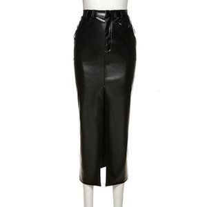 Autumn Solid PU Leather Long Skirt Women Fashion High Waist Split Clothing Lady Casual Straight Skirt 2021 New