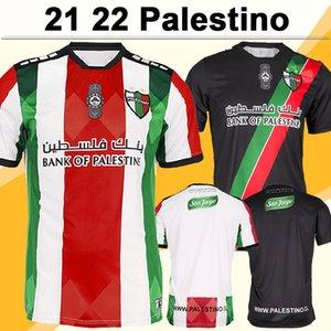 21 22 Palestino Mens Soccer Jerseys Club Jimenez Benitez Cortes Home Red White Away Black Football Camicia a manica corta Adult Uniformi adulti