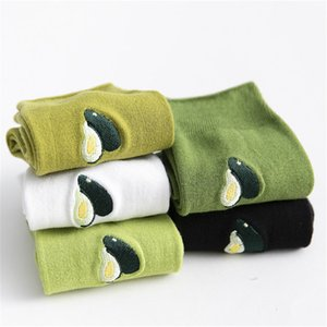 Korean Fresh Fruits Funny Socks New Ins Green Cute Embroidery Avocado Socks Women Girl Tube Harajuku Novelty Meias Sokken