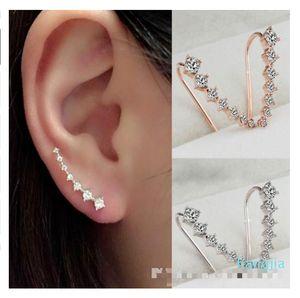 CZ Diamond Clip Cuff Earrings Silver Gold Plated Dipper Hook Stud Earrings Jewelry for Women Earring ZL