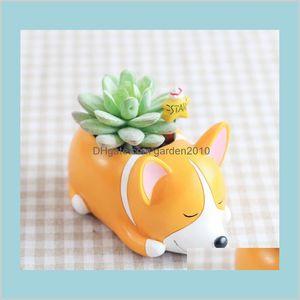 Planters & Pots Garden Supplies Patio, Lawn Home Flower Cartoon Dog Planter Puppy Resin For Succulents Desktop Macetas Home 4 Designs