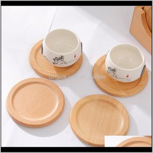 Pads 6Pcsset Wooden Coasters Set Round Beech Wood Mat Bowl Pad Coffee Tea Mats Dinner Placemats Cup Holder Home Kitchen Tools Kspax 42Oi3