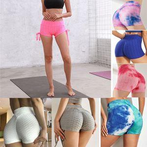 Mulheres Yoga shorts verão praia bunda elevador de cintura alta cintura texturizada calças de ginástica ruched squat treino shorts fundo esporte push up hot i8sa #
