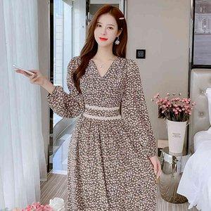 العصرية الشيفون المرأة اللباس جديد الأزهار طباعة عالية الخصر فساتين أزرق أسود 0620
