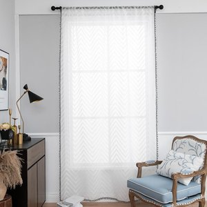 Curtain & Drapes White All- Linen Stripe Window Screens Sheer Curtains For Living Room Tulle Modern Voile Bedroom Balcony Yarn Decor