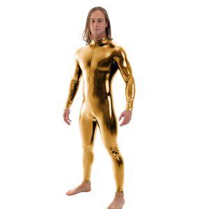Ensnovo Men Latex Suit Black Shiny Metallic Tights Gold Zentai Suit Full Body Unitard Custom Skin Bodysuit Zipper Front