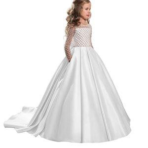Детские платья Девушки Ромбическая трубка Топ с длинными рукавами Платье Большой Лук Розовый Маленький Трейлинг Принцесса Свадебное платье 281 Z2