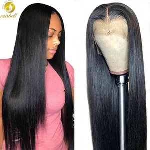 MISHELL 180 250 Density 36 40 Inch Straight Pre-Plucked Gluels Lace Front Hu Hair Wigs For Black Women