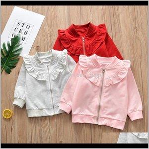 Cardigan Clothes Clothing Style Autumn Baby Girls Sweaters Tshirt Long Sleeve Lotus Leaf Collar Zipper Tops Kids Children Rndvt Jzsat