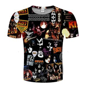 Camisetas Tshirt T Iron 3D Impresión MAides Beso Hombres Mujeres Verano Tee Unisex Pareja Tops Rock Music Band Collection T