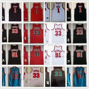 Retro Black Red Derrick Stripe 1 Rose Basketball Jerseys Mitchell and Ness Scottie 33 Pippen Dennis 91 Rodman Jersey White