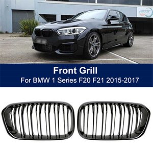 Front Bumper Kidney Grill Double Slat Racing Sport Grille Fit For BMW F20 F21 LCI 120i 1Series 2015 ,Car Accessories