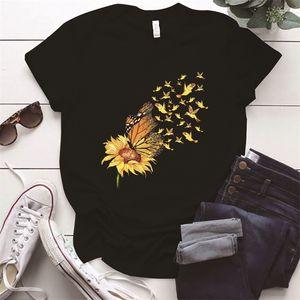 Vintage Zonnebloem Vlinder Afdrukken Vrouw T-Shirts Plus Größe O-Hals Esthetische Femme T-shirts S-5XL Zomer Vrouwen Tops Ropa Mujer