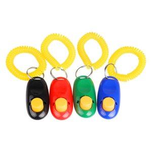 Wholesale Dog Pet Cat Puppy Button Click Clicker Training Trainer Aid Wrist Strap Guide 200pcs lot