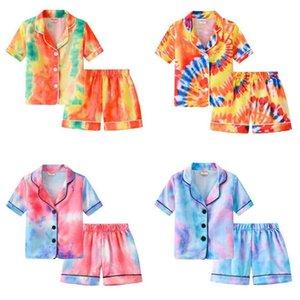 Ins pijamas das crianças Conjuntos de moda gradiente pijama terno verão meninos meninas tie tintura impressão de manga curta shorts home out two peça definir estudantes sleepwear gg6214j1