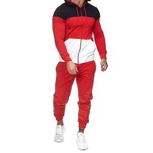 Conjuntos de ejecución Chándal con capucha para hombre Ropa deportiva Otoño invierno Patchwork cremallera Sudadera + Pantalones largos Jogger 2pcs Ropa deportiva